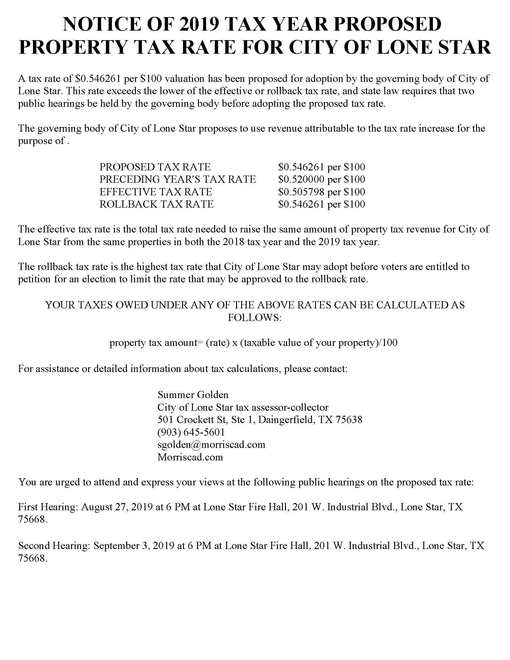 NOTICE OF 2019 PROPOSED PROPERTY TAX RATE