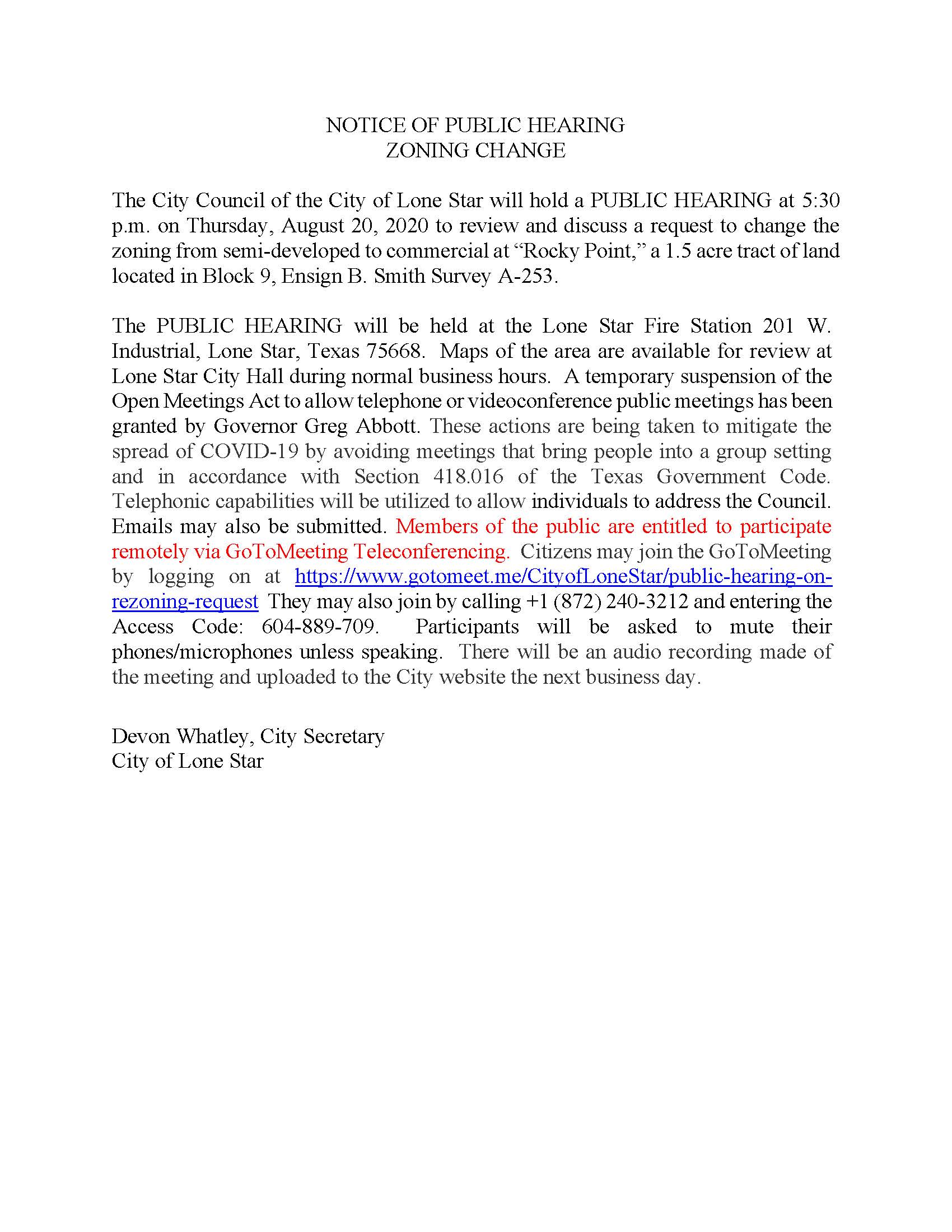 Notice of Public Hearing for Rezoning